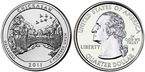 25 центов 2011 D США — Рекреационная зона Чикасо (Оклахома) UNC