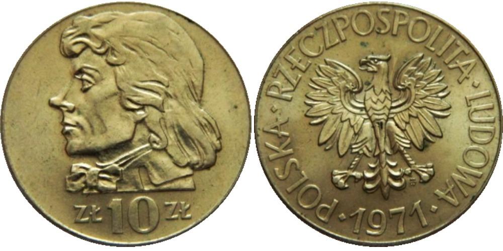 10 злотых 1971 Польша — Тадеуш Костюшко