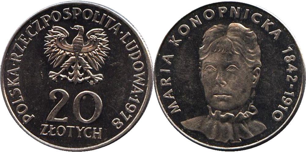 20 злотых 1978 Польша — Портрет Марии Конопницкой