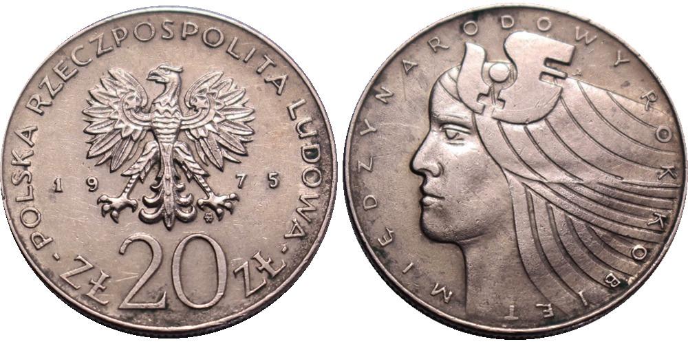 20 злотых 1975 Польша — Международный год женщины