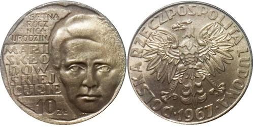 10 злотых 1967 Польша — 100 лет со дня рождения Марии Склодовской-Кюри