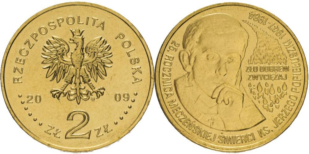 2 злотых 2009 Польша — 25 лет со дня смерти блаженного Ежи Попелушко