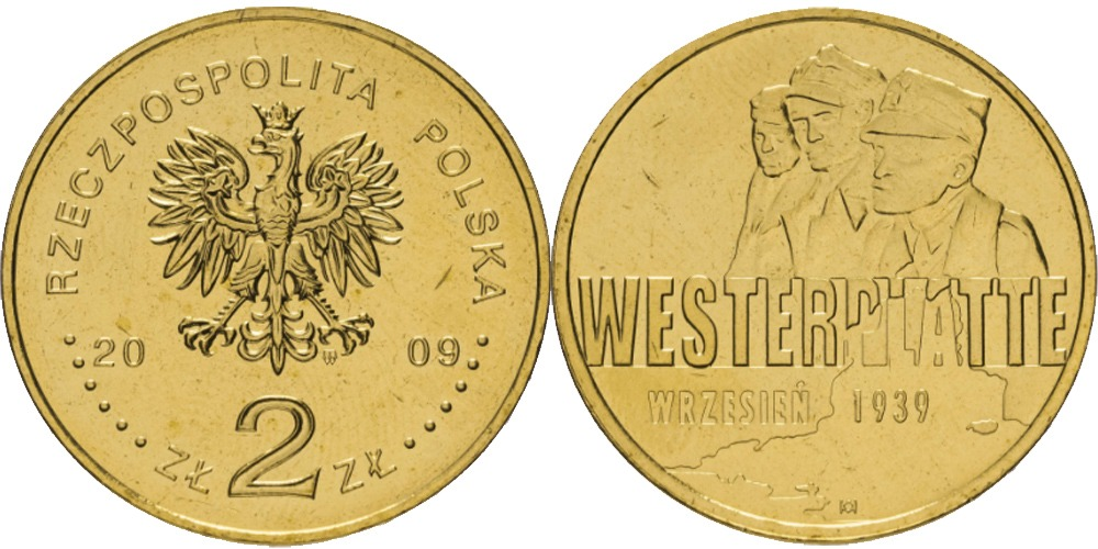2 злотых 2009 Польша — Оборона Вестерплатте в сентябре 1939
