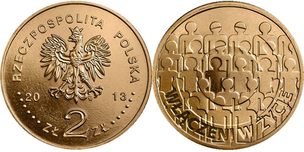 2 злотых 2013 Польша — 50 лет польской ассоциации умственно отсталых людей