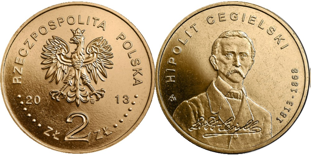 2 злотых 2013 Польша — 200 лет со дня рождения Хиполита Цегельского