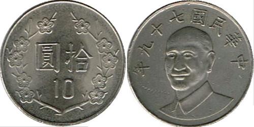 10 долларов 1990 Тайвань