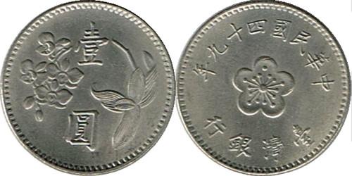 1 доллар 1960 Тайвань