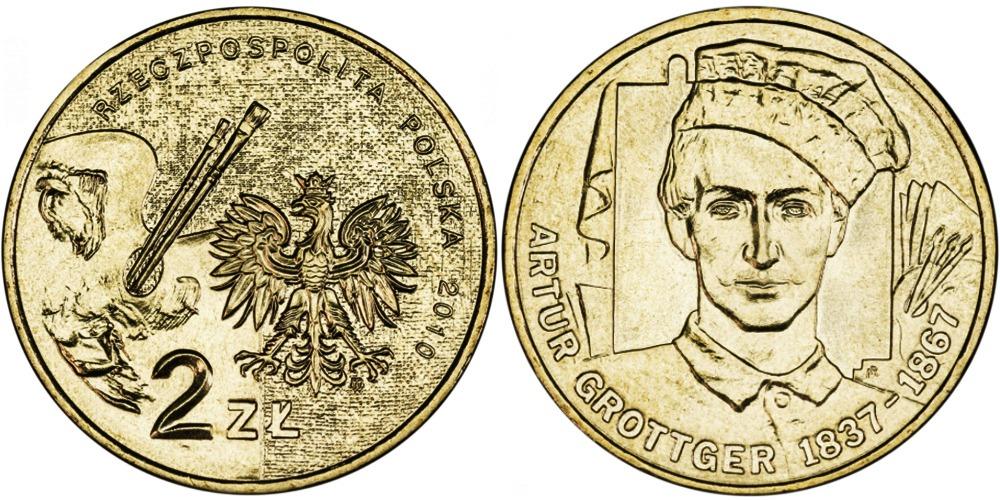 2 злотых 2010 Польша — Художники Польши 19-20 века — Артур Гротгер