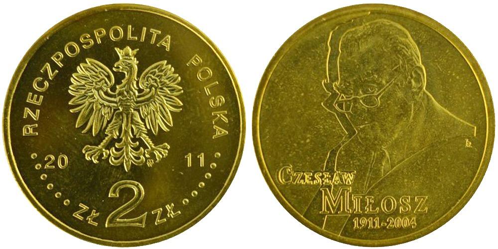 2 злотых 2011 Польша — 100 лет со дня рождения Чеслава Милоша