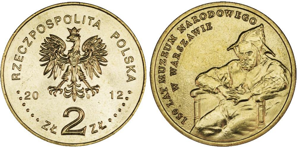 2 злотых 2012 Польша — 150 лет национальному музею в Варшаве