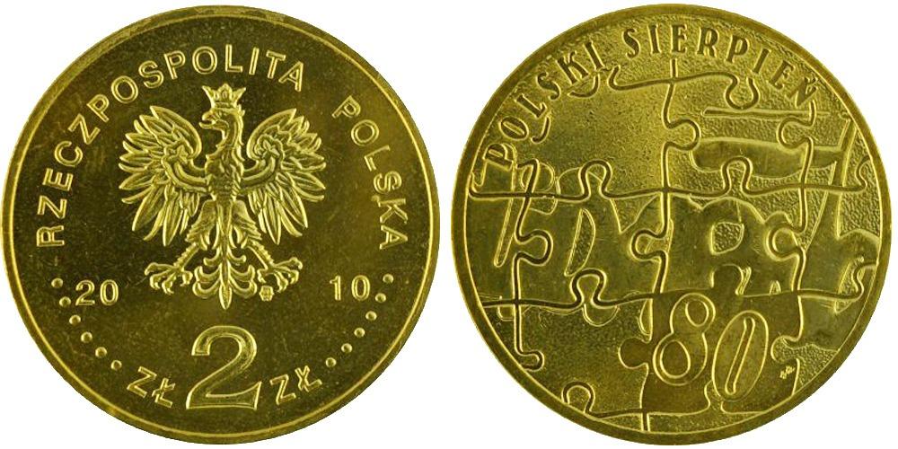 2 злотых 2010 Польша — 30 лет политическому кризису в Польше 1980 года