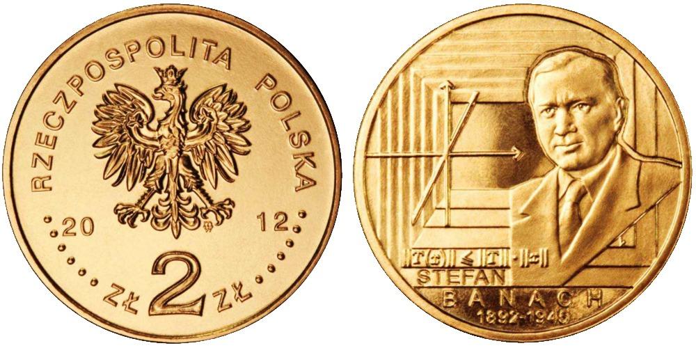 2 злотых 2012 Польша — 120 лет со дня рождения Стефана Банаха