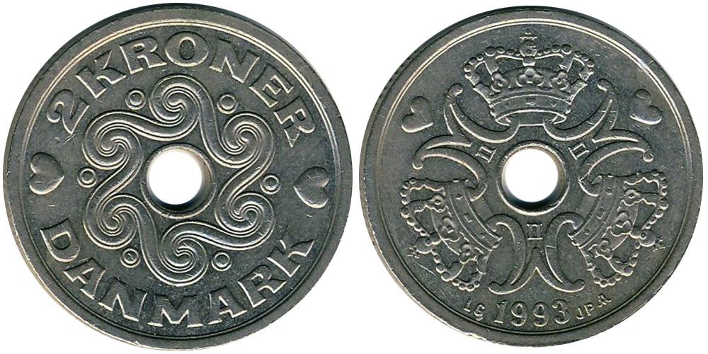 2 кроны 1993 Дания