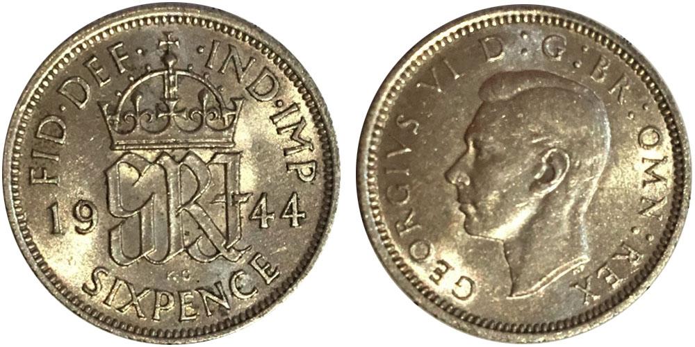 6 пенсов 1944 Великобритания — серебро