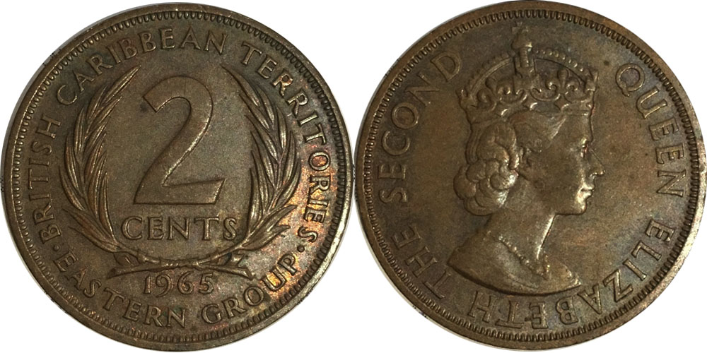2 цента 1965 Восточные Карибы