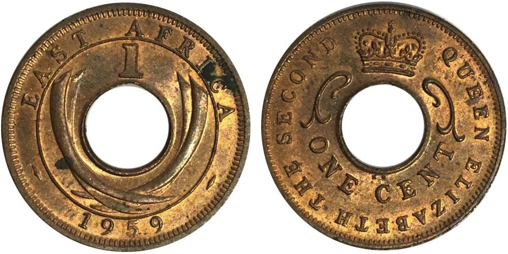 1 цент 1959 Британская Восточная Африка — Отметка монетного двора: KN — Кингз Нортон Металл