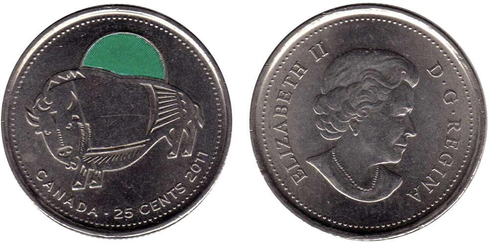 25 центов 2011 Канада — Природа Канады — Бизон — эмаль