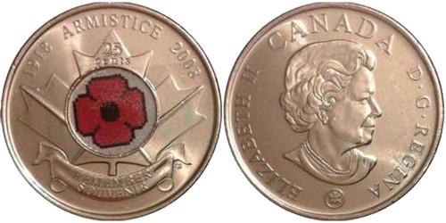 25 центов 2008 Канада — 90 лет со дня окончания Первой мировой войны — эмаль