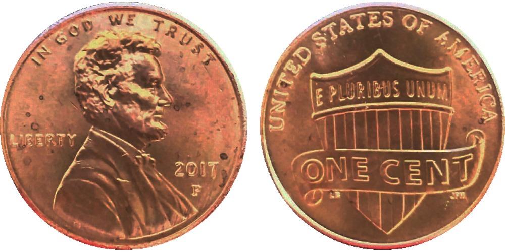 1 цент 2017 P США — Lincoln Cent