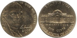 5 центов 2008 Р США — Jefferson Nickel