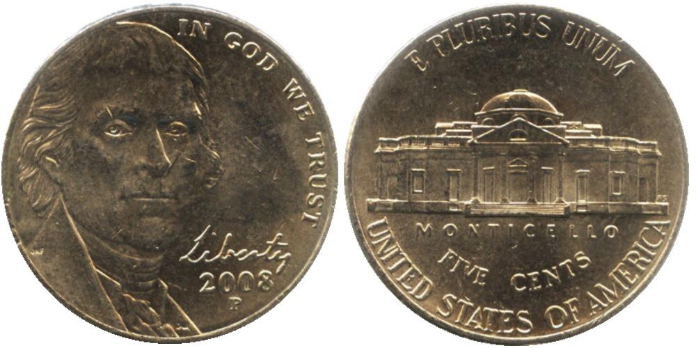 5 центов 2008 Р США — Jefferson Nickel