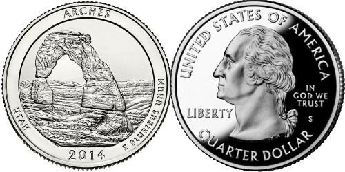 25 центов 2014 S США -Национальный парк Арки