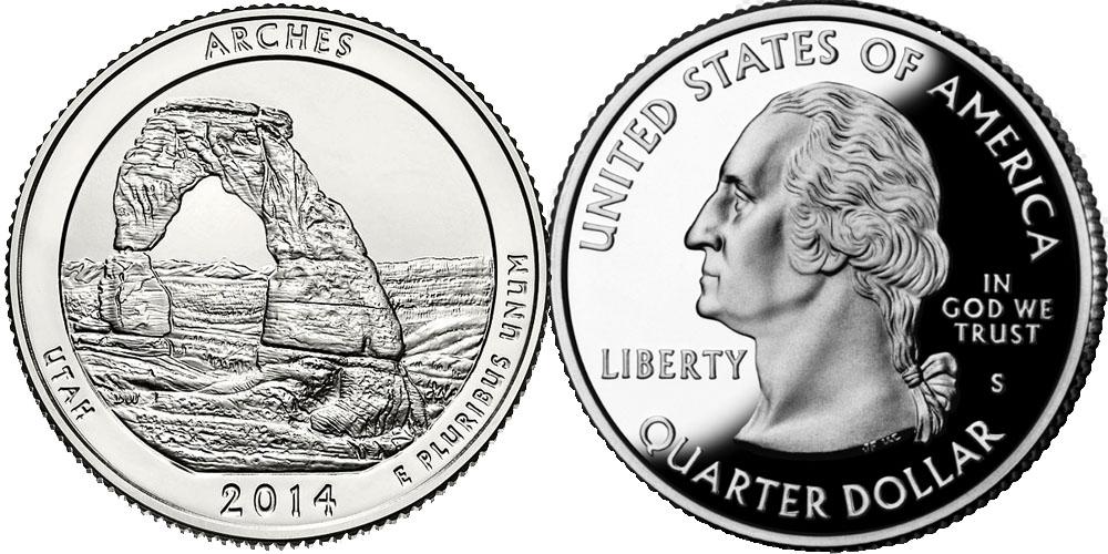 25 центов 2014 S США — Национальный парк Арки — Arches National Park