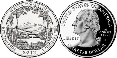 25 центов 2013 S США — Национальный парк Белые горы