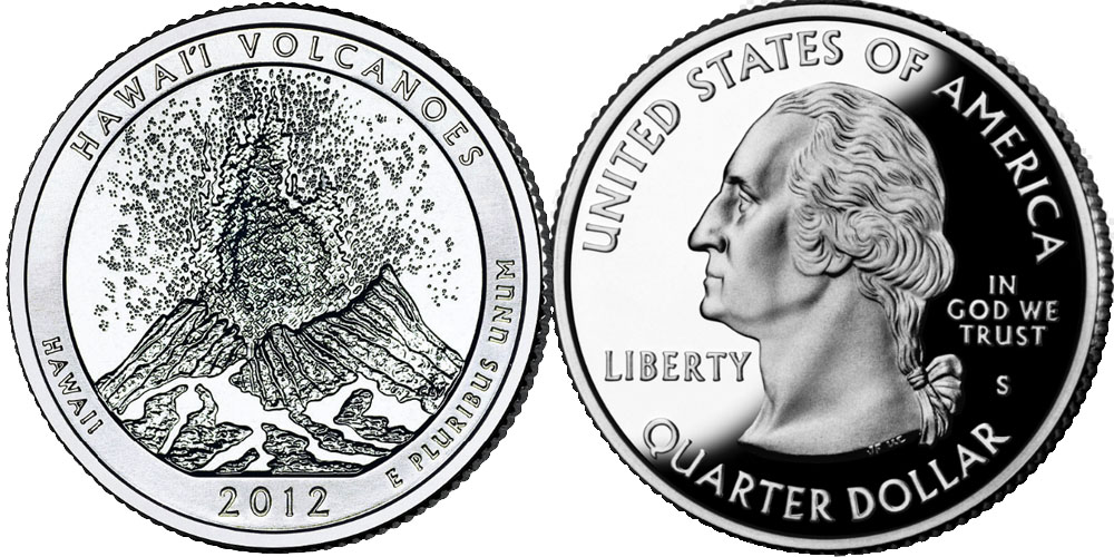 25 центов 2012 S США — Национальный парк — Гавайские вулканы UNC