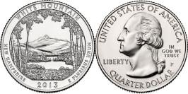 25 центов 2013 P США — Национальный лес Белые горы Нью-Гэмпшир — White Mountain UNC