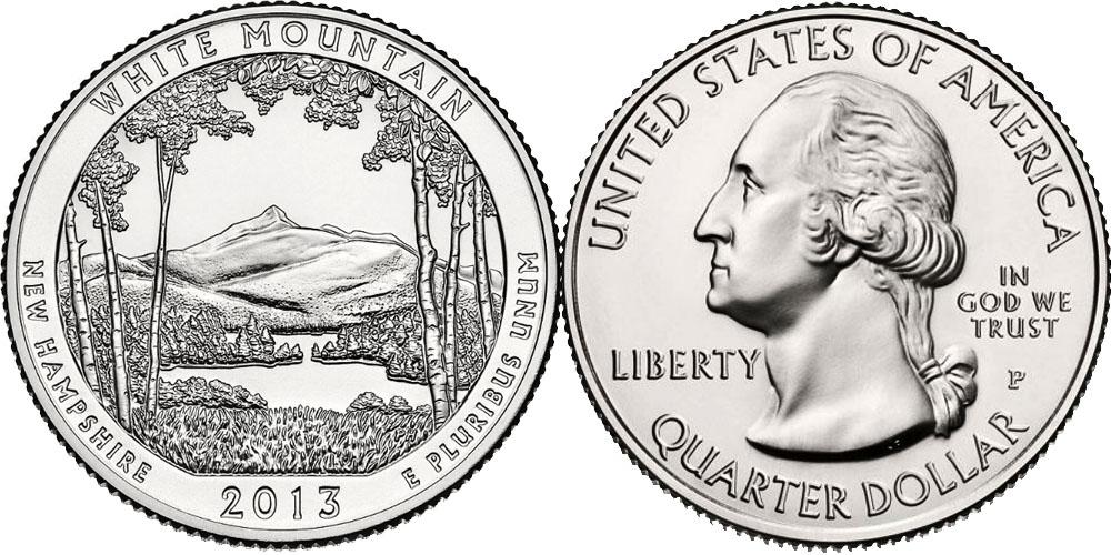 25 центов 2013 P США — Национальный лес Белые горы (Нью-Гэмпшир) UNC