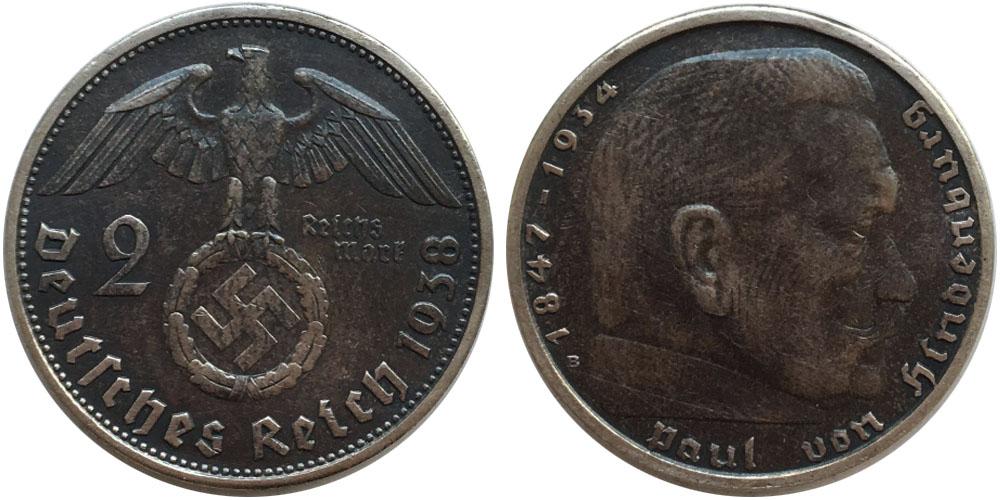 2 рейхсмарки 1938 «В» Германия — серебро №1