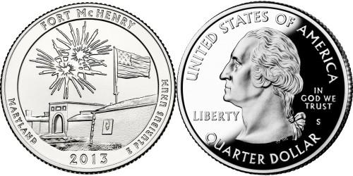 25 центов 2013 S США — Национальный памятник Форт Мак-Генри