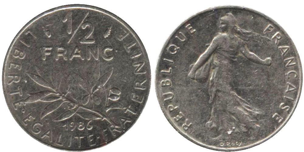 1/2 франка 1986 Франция