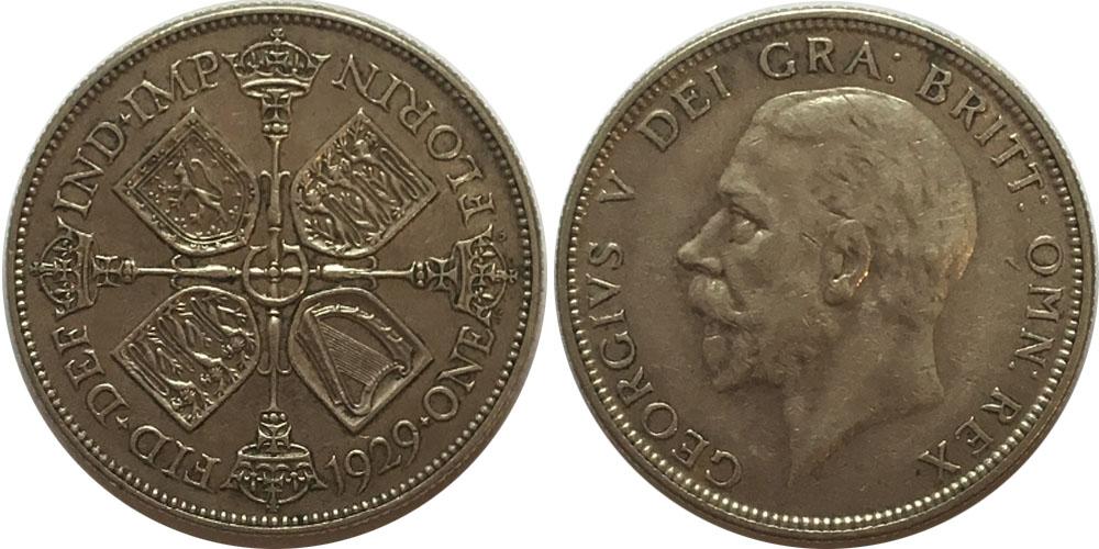 2 шиллинга (флорин) 1929 Великобритания — серебро
