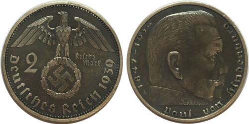 2 рейхсмарки 1939 «А» Германия — серебро