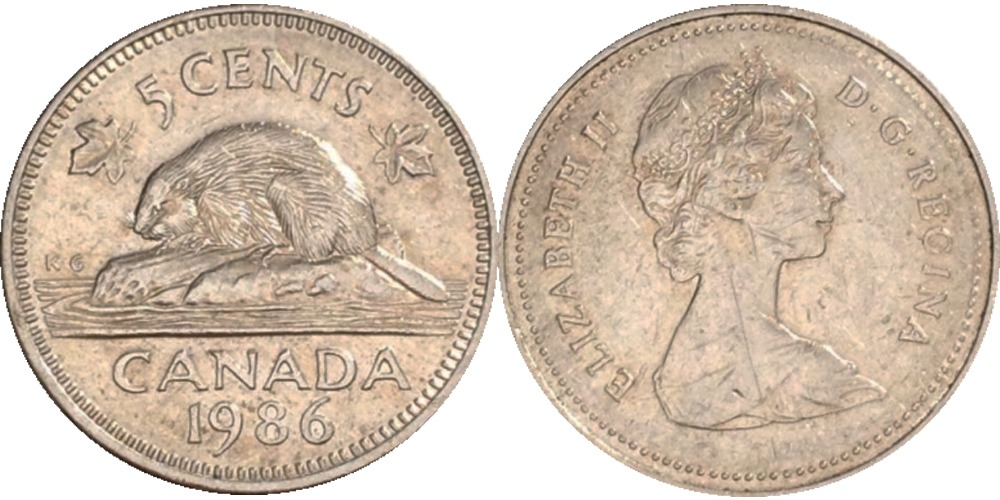 5 центов 1986 Канада