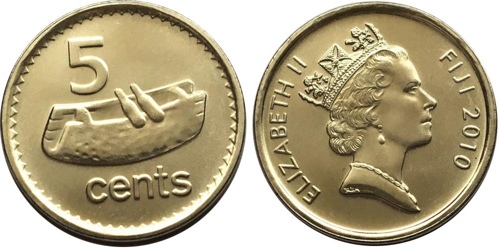 5 центов 2010 Фиджи UNC — Фиджийский барабан лали
