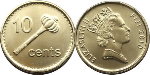 10 центов 2010 Фиджи UNC — Метательная дубинка ула тава-тава