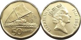 50 центов 2009 Фиджи UNC — Парусное каноэ
