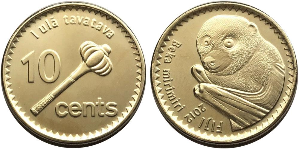 10 центов 2012 Фиджи UNC — Летучая лисица
