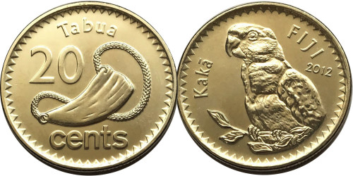 20 центов 2012 Фиджи UNC — Попугай кака