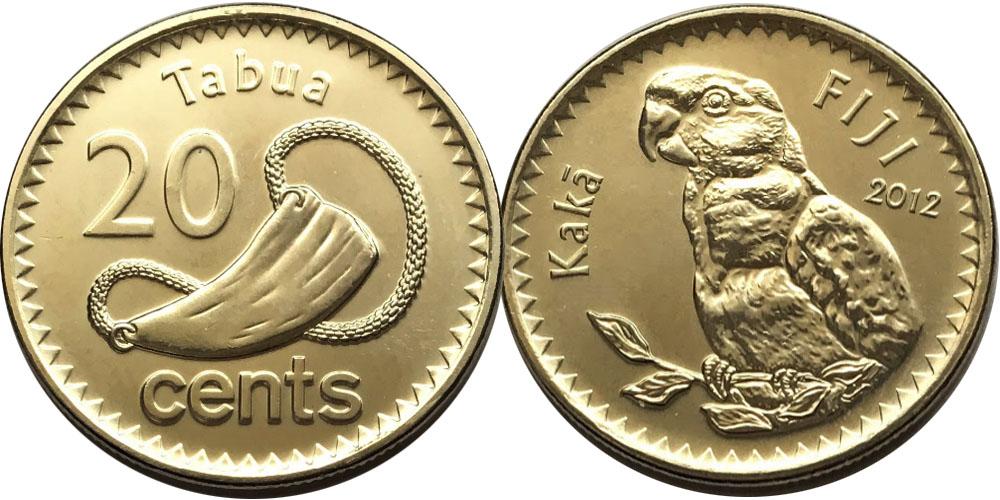 20 центов 2012 Фиджи  — Попугай кака