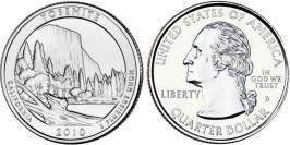 25 центов 2010 D США — Национальный парк Йосемити — Yosemite National Park UNC