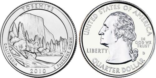 25 центов 2010 D США — Национальный парк Йосемити UNC