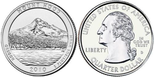 25 центов 2010 D США — Национальный лес Маунд Худ — Mound Hood National Forest UNC