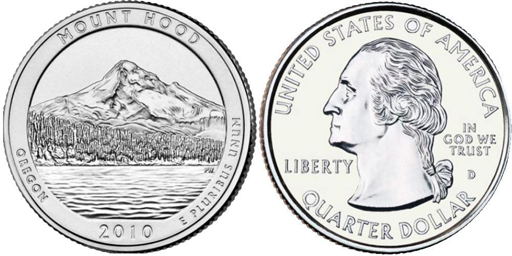 25 центов 2010 D США — Национальный лес Маунд Худ UNC