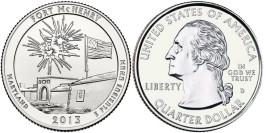 25 центов 2013 D США — Национальный памятник Форт Мак-Генри UNC