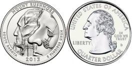 25 центов 2013 D США — Национальный мемориал Маунт-Рашмор