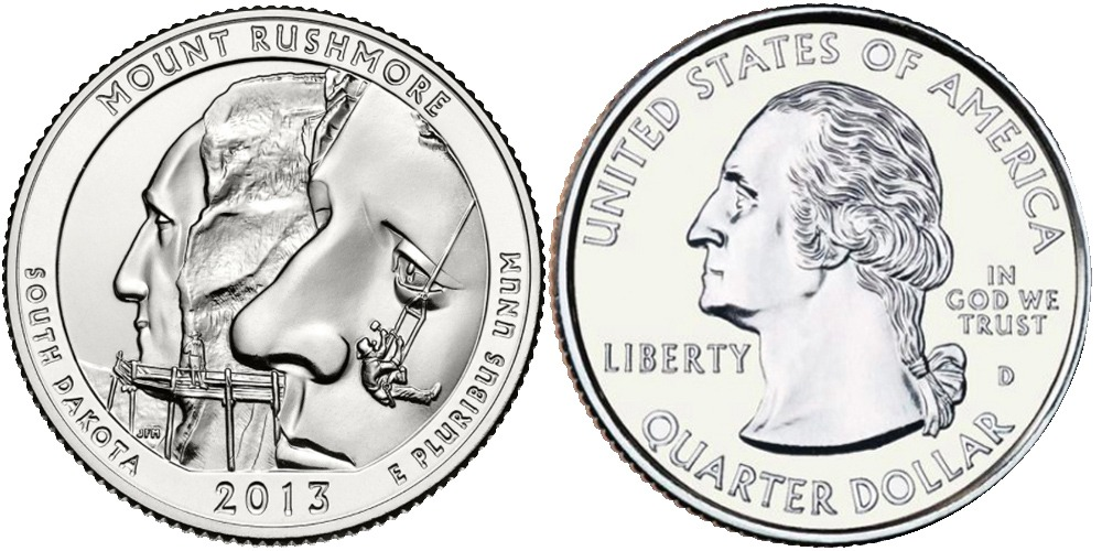 25 центов 2013 D США — Национальный мемориал Маунт-Рашмор — Mount Rushmore National Memorial